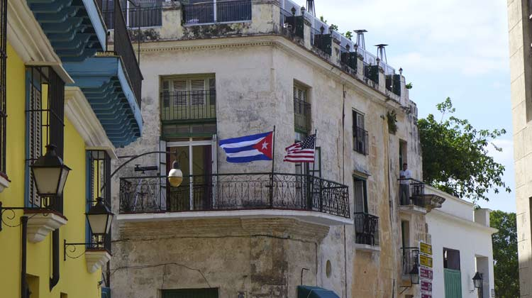 Cuban and American Flags Cruise to Havana
